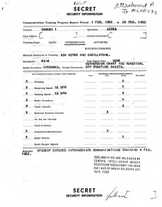 CIA recruit Alfrēds Riekstiņš radio operation test evaluation document